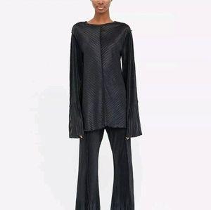 NWT Zara Black Silky Chevron Bell Sleeve Top S